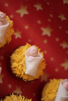 baby Jesus cupcakes....somehow eating the body of Christ outside of communion seems wrong