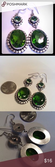 "925 SILVER PERIDOT TOPAZ EARRINGS 925 SILVER PERIDOT TOPAZ EARRINGS 3"" LONG. NEW IN BAG. boutique Jewelry Earrings"