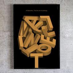 The Fine Art of Drinking. Al Mulinetto. Art Poster by Swiss Artist Livia Noel Drinking, Typography, Fine Art, Artist, Poster, Fashion Design, Style, Noel, Letterpress