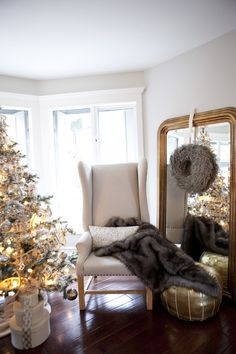 Faux furs and plush pillows are perfect for Christmas decorating … and so comfy for napping after a turkey dinner!