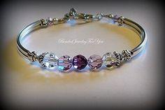Wedding Bracelet  Amethyst Swarovski by beadedjewelryforyou