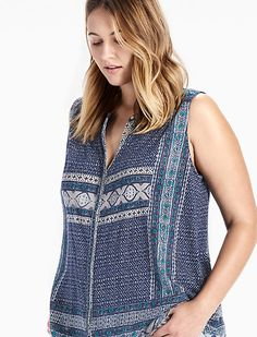 BORDER PRINT BUTTON UP TOP, BLUE MULTI