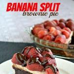 Banana Split Brownie Pie...Ingredients:   For the Crust: 2 c. waffle cones, crushed; 6 Tbsp. butter, melted.   For the Pie: 1 brownie mix; 1/4 c. oil; 2 Tbsp. water; 1 Tbsp. instant coffee; 1 egg.    For the Cheesecake: 1 (8 oz.) cream cheese, softened; 1/4 c. sugar; 1 tsp. vanilla; 1 egg; 1 banana, smashed; 2 Tbsp. flour.   For the Topping: I container strawberries, halved; 1/4 c. hot fudge.
