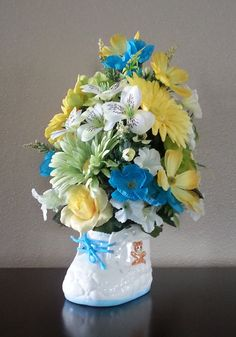 Baby Shower Gift, Baby Shower, Floral Arrangement, Baby Gift, Baby Boy, Baby Girl, Faux Flowers, Silk Flowers, Centerpiece, Blue,Table Decor