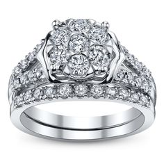 Cherish 14K White Gold Diamond Wedding Set 1 Carat Total Weight