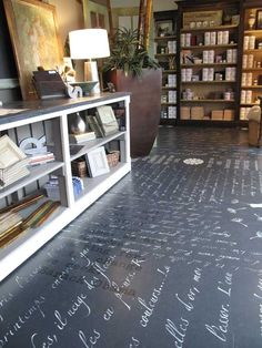 Yes, this is chalk writing on tge floor, this ewould be cool in a library! Annie Sloan Lacquer Floor Finish over stenciled floor