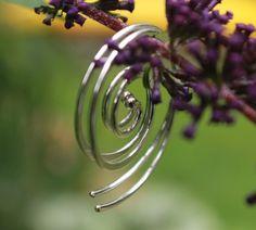 Sterling Spiral Earrings, Silver Dangle Earrings by MountainMetalcraft on Etsy