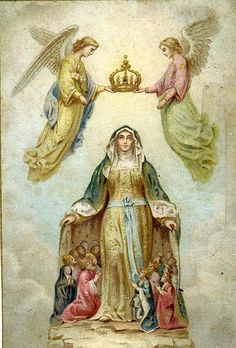 5 th Glorious : Blessed Mother Crowned as Queen of Heaven Blessed Mother Mary, Divine Mother, Blessed Virgin Mary, Religious Pictures, Religious Icons, Religious Art, Image Jesus, Hail Holy Queen, Vintage Holy Cards