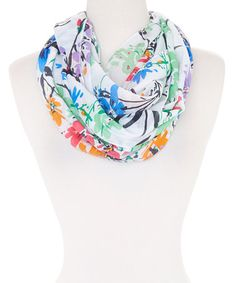 Nice fresh print to liven up plain white shirt. Love this Green & Orange Floral Infinity Scarf on #zulily! #zulilyfinds