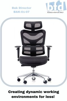 BAK Director's Mesh Chair, extra large headrest, height adjustable back, adjustable lumbar support, full diamond mesh3D arms with chrome trim, waterfall Airflow seat, wireline mechanism, illustrated levers. More information available on our website. Business Furniture, Home Office Furniture, Mesh Chair, Furniture Direct, Waterfall, Wheels, Chrome, Arms, Chairs