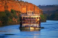 The 'Murray Princess', the southern hemisphere's largest inland paddlewheeler, travels along the Murray River. The Murray is the third longest navigable river in the world, after the Amazon & Nile, with a total length of 2520 kilometres (1565 miles) and spanning three states - Victoria, New South Wales & South Australia - Australia.