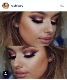 Rachel Leary makeup gold cranberry