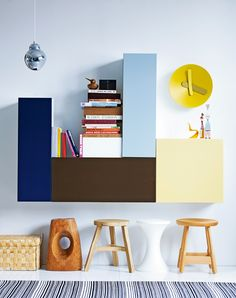 apartmentdiet: Take some simple shelves/cupboards and mix it up for a bespoke functional art display… Inspiring shelving ideas from elle interior