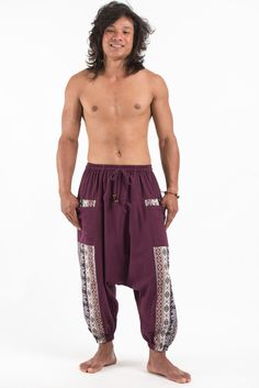 Elephant Aztec Cotton Harem Pants come with 2 perfect side pockets. They offer comfort and stylish look. Great for any occasion. Measurement: Waist: Hip: up to Length: Harem Pants Men, Cotton Harem Pants, Elephant Pants, Tokyo Fashion, African Fashion, Aztec, Casual Outfits, Casual Clothes, Purple