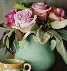 Pottery: Turquoise Is Perfect With Pink Roses