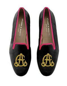 Stubbs & Wooton Monogramed Velvet Slippers
