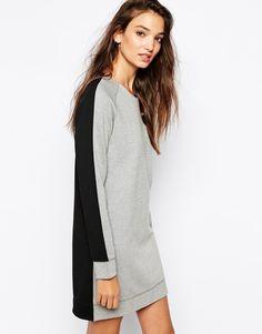 Grey Black Long Sleeve Straight Dress
