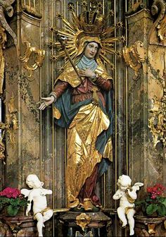 The miraculous statue of Mary as the Mother of Sorrows in the pilgrimage church of Maria Steinbach, Bavaria.