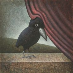"8 x 8 in print of the original Craig Wetzel egg tempera painting, ""Crow Portrait."" Archival giclee printed on heavy 100% cotton, acid-free paper."