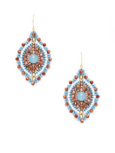 Blue Jade & Goldstone Beaded Earrings by Miguel Ases at Gilt