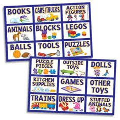 These children's toy labels equal toy-cleanup sanity! And your kids will know right where everything belongs. As a bonus, our toy labels will learn reading skills as they begin to identify the pictures with the words. Toy Bin Labels, Kids Labels, Organizing Labels, Organizing Toys, Printable Organization, Organizing Solutions, Organising, Kids Room Organization, Playroom Ideas