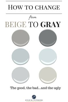 Online Color Consultant Kylie M discusess how to change from beige to gray or greige with regar to paint colours. So if you have beige carpet, furniture or walls, these ideas can help you transition to a more modern, gray style! Kylie M Interiors Online C Greige Paint Colors, Interior Paint Colors, Paint Colors For Home, Paint Colours, Interior Design, Cafe Interior, Interior Plants, Interior Doors, House Colors