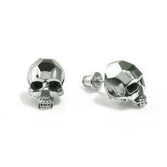 Vampire Skull Stud Earrings Silver   Kasun