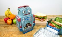 This robot shaped lunch box can turn a few heads in the cafeteria with its retro tin construction perfect for storing lunch-time goodies