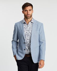 Wedding Suits, Cotton Linen, Suit Jacket, Blue And White, Blazer, Long Sleeve, Jackets, Stuff To Buy, Ideas