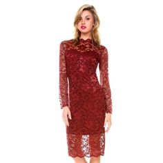 bd8522e7dd4aa Shop for Stanzino Women s Mock Neck Long Sleeve Lace Dress. Free Shipping  on orders over. overstock.com