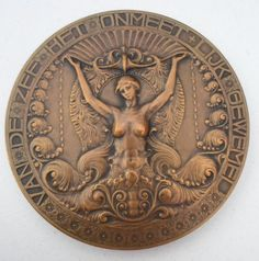 1912 Art Nouveau Dutch Belgian Art Medal Friends Society Mermaid | eBay