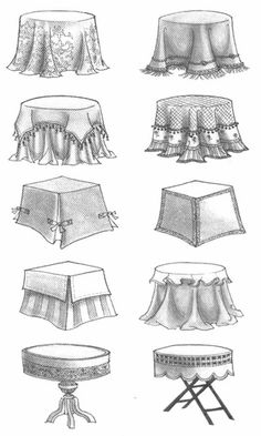 How to draw Table Skirts Round Table Covers, Octagon Table, Drum Table, Colorful Curtains, Round Tablecloth, Mosaic Designs, Table Skirts, Furniture Arrangement, Furniture Styles