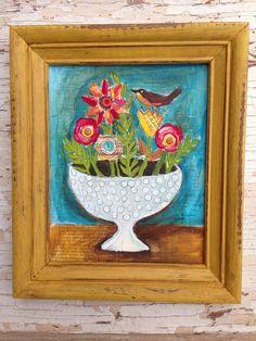 Springtime Wall Art Floral Birds Framed Original Painting on Etsy, $79.00
