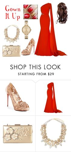 """Red Gown"" by gotfashionfever ❤ liked on Polyvore featuring Christian Louboutin, Alex Perry, Rimen & Co., Saks Fifth Avenue, Michael Kors, gown and RedAndGold"