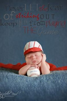 Stunning Newborn Baseball Photo by  http://michellebeard.vpweb.com/ Text Overlay used on photo by Pink Pudding Designs  http://www.etsy.com/shop/PinkPuddingDesigns?ref=si_shop newborn photos, sports themed newborn photos #baby #photography #newborn