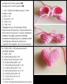 Crochet Heart Amigurumi Free Patterns With Video Tutorial Amigurumi Patterns, Knitting Patterns, Crochet Patterns, Crochet Ideas, Simply Crochet, Easy Crochet, Crochet Food, Afghan Stitch, Crochet Baby Bonnet