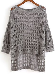 Shop Dip Hem Hollow Sweater at ROMWE, discover more fashion styles online. Crochet Jumper, Sweater Knitting Patterns, Crochet Cardigan, Knitting Designs, Knit Crochet, Diy Crafts Knitting, Summer Knitting, Crochet Woman, Knit Fashion