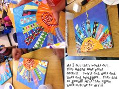 Sun art. This could be awesome with a blue painted background and then cutting and gluing down scrapbook paper stripes to make the sun rays.