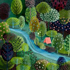 Jane Newland Tent Drawing, Camping Drawing, Forrest Illustration, Tree Illustration, Cheryl Strayed, Nature Illustrations, Illustrations And Posters, Nature Paintings, Landscape Paintings