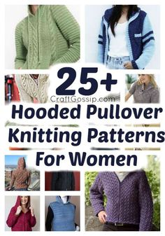 25 Ladies Hooded Pullover Knitting Patterns – Knitting Jumper Knitting Pattern, Hoodie Pattern, Sweater Patterns, Free Knitting Patterns For Women, Knitting Blogs, Pattern Images, Hooded Cardigan, Pullover, Cardigans