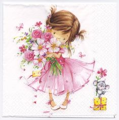 This little princess is so cute in her pink dress and carrying a pretty pink bouquet of flowers on a pretty paper napkin for decoupage. Buy your decoupage supplies at Decoupage Designs USA Decoupage Glass, Paper Napkins For Decoupage, Little Princess, Girls With Flowers, Wedding Napkins, Party Napkins, Napkins Set, Cute Illustration, Cute Drawings