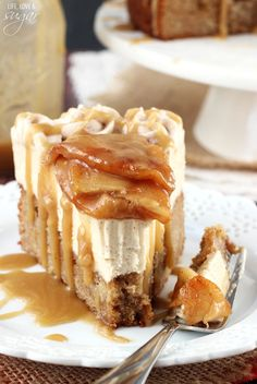 """Caramel Apple Blondie Cheesecake"" - A Great way to start off Apple Week - This is sumptuous, espec. if You ♥ LOVE caramel & apples (and Oh yeah, Cheesecake ☺☺)..  #Desserts  #AppleCheesecake #Caramel"