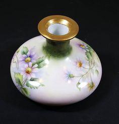 VINTAGE PORCELAIN VASE Floral Austrian Squatty Vase Small Porcelain Bud Vase Purple Daisies Hand Painted Vase Mothers Day Gift