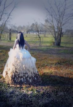 Ivory Peacock feather wedding gown skirt  by AeriskFashion on Etsy, $900.00