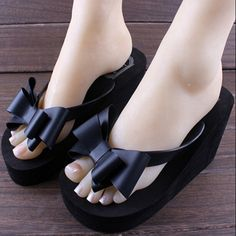 Women Shoes in Women's Slippers Summer Flip-flops Female Wedges High Heels Shoes Beach Bowtie Slippers Drages Sandals Platform