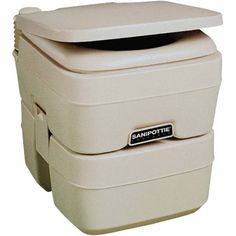 SeaLand 5.0 Gallon SaniPottie 965MSD Portable Toilet with Mounting Brackets and 1-1/2 inch MSD Fittings, Beige