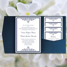 """DIY Pocketfold Wedding Invitations """"Vintage"""" Navy Blue Printable Templates Instant Download Order Any 1 or 2 Colors You Print"""