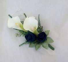 Navy Blue Wedding Flowers | WEDDING FLOWERS - LADIES CALA LILY AND ROSE CORSAGE, IVORY AND NAVY ...