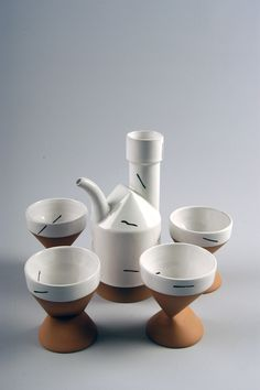 https://flic.kr/p/9dPjgv | Paul Eshelman | 2004.2.0051 Teapot Set, c. 1985 Slip cast red stoneware, white glaze wtih black overglaze Gift of the American Ceramic Society