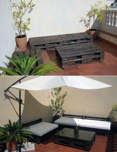 ideas DIY terrazapallets como sofas y mesa